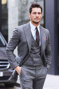 David Gandy in a grey three-piece suit Mens Fashion Suits, Mens Suits, Mens Tailored Suits, Grey Suits, Suit Men, Men's Fashion, David Gandy Style, David Gandy Suit, Mode Bcbg
