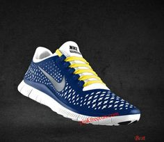 684a9c1ca58a Cheapest Mens Nike Free 3.0 V4 Platinum Reflect Silver Deep Royal Blue  Chrome Yellow Lace Shoes