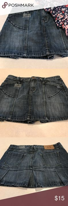 🛍30% OFF Bundles 🛍💎Jean skirt💎 Cute jean skirt. Is 16 inches across the waistline and 13 inches from top to bottom. In excellent condition. Let me know if you have any questions. Armani Exchange Skirts