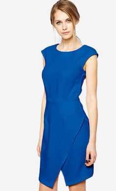 Shop Closet Pencil Dress with Asymmetric Skirt at ASOS. c8c72baa0