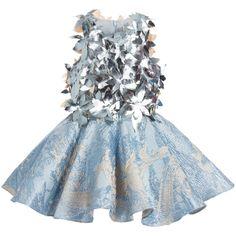 Mischka Aoki - Girls Metallic Blue & Silver 'It's Magic' Dress | Childrensalon