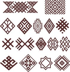 Bashkir (Ethnic group in Russia) traditional  folk embroidery ornaments (vector)
