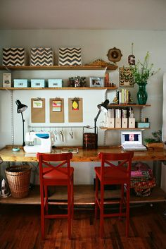 rustic desk, red chairs, chevron baskets...LOVE it!