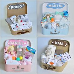 anniversaire a theme - Baby baskets. With our birth baskets you can make a very complete gift in a beautiful box of memori - Baby Shower Gift Basket, Baby Hamper, Baby Shower Gifts, Girl Gift Baskets, Fiesta Baby Shower, Baby Shower Parties, Baby Shower Themes, Cadeau Baby Shower, Baby Bouquet