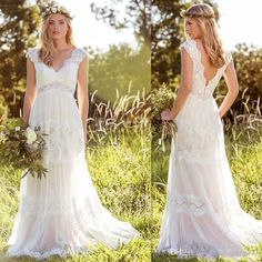 2017 Bohemian Wedding Dresses Cap Sleeve A Line Lace V Neck Bridal Gowns Open Back Country Style Vestido De Noivas Custom Made Black And White Wedding Dress Bridal Couture From Changjiang777, $137.69| Dhgate.Com