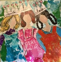 """Saatchi Art is pleased to offer the painting, """"Girl Club,"""" by Teresa Carbone DeLuise, available for purchase at $480 USD. Original Painting: Acrylic on Canvas. Size is 36 H x 36 W x 1.5 in. Large Canvas, Canvas Size, Acrylic Material, Girls Club, Canvas Artwork, Girl Room, Abstract Expressionism, Saatchi Art, Original Paintings"""