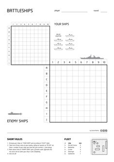 Battleships Paper Game - Battleship (game) - Wikipedia, the free encyclopedia Dice Games, Math Games, Fun Games, Battleship Board, Pen And Paper Games, Ship Games, Board Games For Kids, Teaching Math, Maths