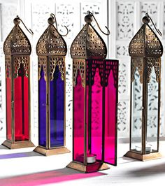 Pink Tall Moroccan Style Lantern.. Love this look.
