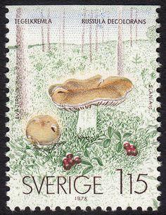 The Russula decolorans.  Swedish stamp, circa 1978