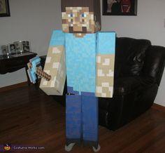 Minecraft Steve Costume - Halloween Costume Contest via Minecraft Steve Halloween Costume, Cheap Halloween Costumes, Halloween Costume Contest, Homemade Costumes, Boy Costumes, Costume Ideas, Holidays Halloween, Halloween Diy, Halloween Decorations