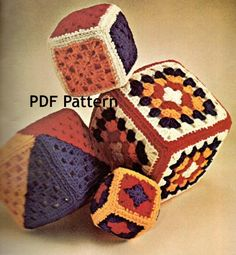 I made these for the girls when they were little. Now I need to get this pattern for the Grands. Love this pattern, Quick and easy. Vintage 1970s Granny Square Baby Blocks Crochet  by OneRetroLady