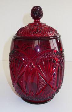 Vintage Ruby Red Glass Biscuit Jar