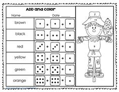 Free roll-a-scarecrow printable page, 3 addends, grade one