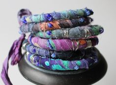 Purple Bangle Bracelet Stack Boho Gypsy by jenniflairjewelry