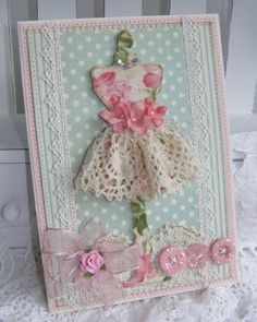 Pretty dress card using doily/lace