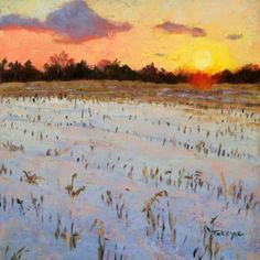 Winter Sunset Over Cornfield by Takeyce Walter Day 21 of the 30 in 30 Art Challenge -- Takeyce Walter