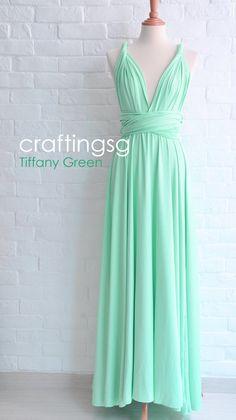Bridesmaid Dress Infinity Dress Tiffany Green Floor Length Wrap Convertible Dress Wedding Dress on Etsy, $50.00