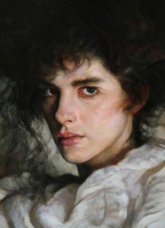 """""""Devotion"""" - Francesca Strino (Italian, b. 1979), oil {figurative art female head shoulder woman face portrait painting #loveart}"""