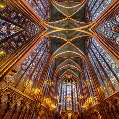 Sainte-Chapelle mirrored medium fabric by enigmaticd on Spoonflower - custom fabric