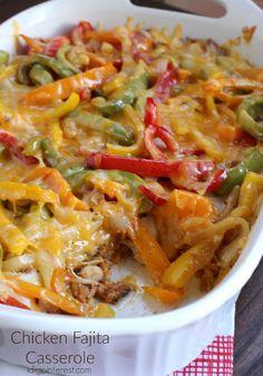 Chicken Fajita Casserole, Chicken Fajitas, Comfort Foods, Casserole Dishes, Casserole Recipes, Cooking Recipes, Healthy Recipes, What's Cooking, Main Meals
