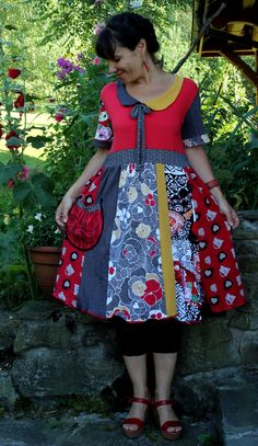 Crazy collar floral  dress tunic recycled by jamfashion on Etsy, $86.00