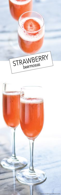 Strawberry Beermosas - Combining beer, oj and strawberry puree, are a fun and exciting way to incorporate into your Easter brunch!