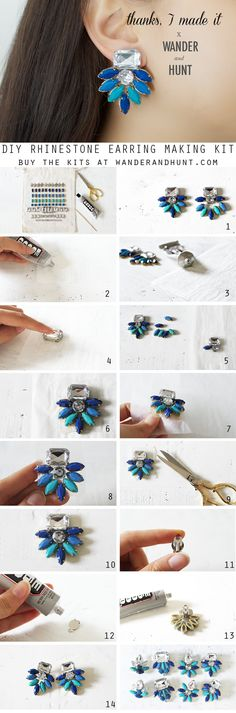 This kit is avaliable in Blue and Pink rhinestones. How to: 1) Create your desired earring design. 2) Prepare your...