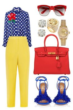 """""""Untitled #411"""" by scannedbyaaron ❤ liked on Polyvore featuring Aquazzura, Dice Kayek, Issa, Hermès, Rolex, Versace, Auriya and Wildfox"""
