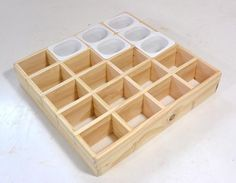 Homemade small parts sorting tray constructed from and lumber. Utilizes yogurt cups as parts containers. Pegboard Storage, Diy Garage Storage, Garden Tool Storage, Diy Garage Shelves, Cheap Storage, Diy Storage Boxes, Garage Organization, Storage Ideas, Garden Tools
