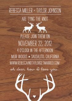 oh dear, deer, woodgrain, and antler wedding invitation. $65.00, via Etsy.