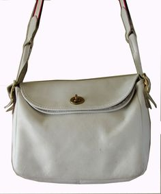 Bonnie Cashin Coach Suspender Bag White Leather Pre Creed Turnlock Rare VTG 60s #Coach #ShoulderBag