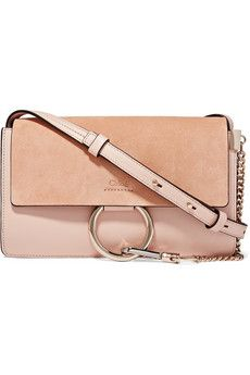 bf4846063c43 Chloé - Faye small leather and suede shoulder bag Chloe Faye Small