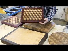 The basics of making end grain cutting boards. Part - Great guide on wood types and pros and cons Woodworking Guide, Custom Woodworking, Woodworking Projects Plans, Teds Woodworking, Woodworking Apron, Woodworking Classes, End Grain Cutting Board, Diy Cutting Board, Bread Board