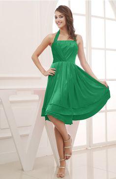 Bright Green Modest Halter Sleeveless Chiffon Knee Length Ruching Cocktail Dresses - iFitDress.com