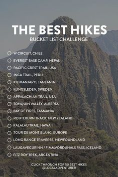 If you love hiking, check out these 25 best hikes in the world to put on your bucket list! Best Hikes in the World Bucket List Challenge // Local Adventurer Hiking Tips, Camping And Hiking, Hiking Routes, Hiking Places, Places To Travel, Travel Destinations, Adventure Bucket List, Adventure Travel, Adventure Time