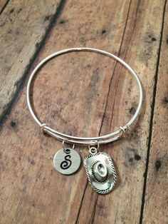 Cowboy hat initial bangle  cowboy jewelry gift for by kimsjewelry