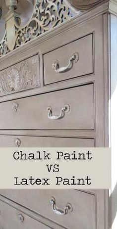 Chalk Paint vs Latex Paint on Furniture - Great resource. For my project I will use chalk paint for both the furniture and the hardware. Refurbished Furniture, Paint Furniture, Repurposed Furniture, Furniture Projects, Furniture Making, Furniture Makeover, Home Furniture, Furniture Refinishing, Modern Furniture