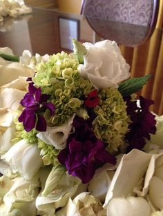 Bouquet purple green and white