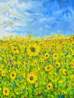 'Between the broken' - Based on a field of sunflowers we discovered between Tetbury and Malmesbury. Oil on canvas.