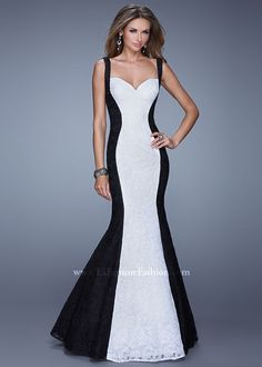 Black and White Colorblock Lace Mermaid Dress - La Femme Prom 2015 at RissyRoos.com