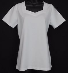 Denim and Co Essentials Size XS White Cotton Blend Solid Short Sleeve Sleeve Knit Top