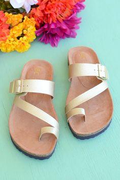 cc49a5d5e2a873 BC Footwear  Boxer  Sandal - Gold Metallic Flat Sandals