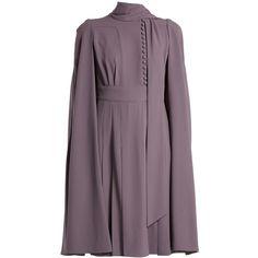 Valentino Cape-back crepe dress ($3,890) ❤ liked on Polyvore featuring dresses, purple, purple dress, crepe dress and crepe fabric dress