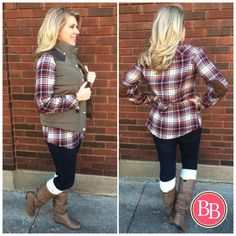 Loving that flannel top under our Olive Hooded Vest from the previous post?? Well it's now LIVE at brandisboutiqueshop.co!! Our NEW Flirty Flannel Top is simply amazing with its comfy cozy fit and elbow patch detail!! • ONLY $29.95! #BBGirls #fallfashion #flirtyflannel #plaid #elbowpatches #style www.brandisboutiqueshop.co > Ladies > Tops & Tunics