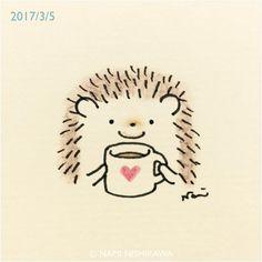 1137 ココア飲もうよ Let's drink hot chocolate. #illustration #hedgehog #イラスト #ハリネズミ #なみはりねずみ #illustagram