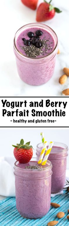 Yogurt Berry Parfait Smoothie | nourishedtheblog.com | An easy to make Yogurt Berry Parfait Smoothie recipe made gluten free and packed-full of protein with greek yogurt, frozen berries, almond butter and chia seeds for the perfect post-workout snack or breakfast treat.
