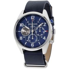 Tommy Hilfiger Corbin Blue Dial Blue Leather Strap Men's Watch 1791187 #TommyHilfiger