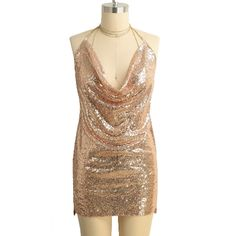 15.65$  Watch more here - http://aio8v.worlditems.win/all/product.php?id=G8581P-L - New Sexy Women Sequined Mini Dress Plunge V Neck Halter Choker Backless Sleeveless Bodycon Dress Party Clubwear