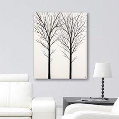 Black White Art Wall Art Canvas Art Original Tree Painting White Wall Hanging Bedroom Decor