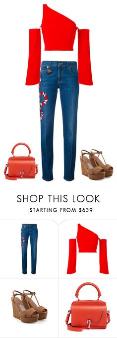 """""""Gucci Print Jeans"""" by marialibra ❤ liked on Polyvore featuring Gucci, Thierry Mugler, Sergio Rossi and Carven"""